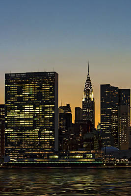 New York City Skyline Photograph - Chrysler And Un Buildings Sunset by Susan Candelario