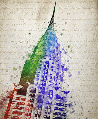 City Scenes Mixed Media - Chrysler Building by Aged Pixel