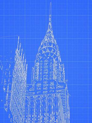 Chrysler Building Mixed Media - Chrysler Building Blueprint Sketch by Dan Sproul