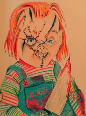 Serial Killer Drawing - Chucky's Back by Denisse Del Mar Guevara