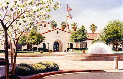 City Hall Painting - Chula Vista City Hall by Mary Helmreich