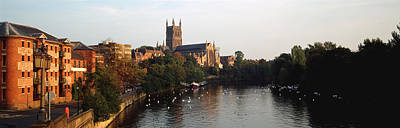 Church Along A River, Worcester Print by Panoramic Images