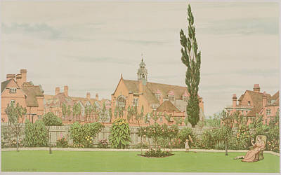 Red Drawing - Church And Parsonage, Bedford Park, 1881 by Frederick Hamilton Jackson