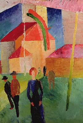 Church Decorated With Flags Print by August Macke