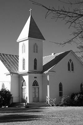Church In Black And White Print by Carolyn Ricks