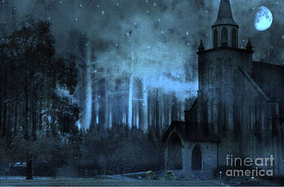 Church In Woods Starry Full Moon Night Print by Kathy Fornal
