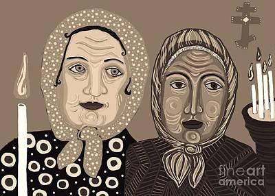 Church Ladies 2 Print by Sarah Loft