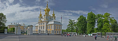 Onion Domes Photograph - Church Of Peterhof Grand Palace by Panoramic Images