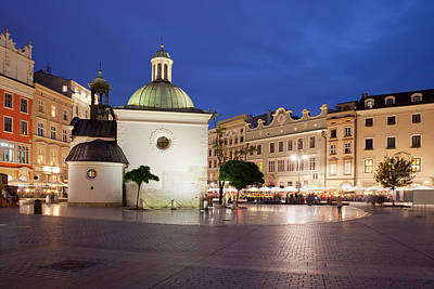 Medieval Temple Photograph - Church Of St. Wojciech In Krakow At Night by Artur Bogacki