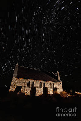 Church Of The Good Shepherd Startrail  Print by Bill  Robinson