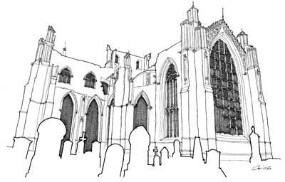 Church Ruins Print by Calvin Durham