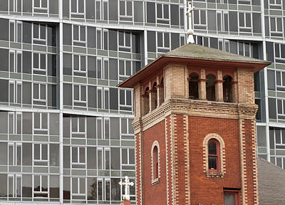 Brick Building Photograph - Church Steeple And Apartment Building by William Sutton