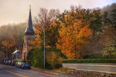 New England Fall Photograph - Church Steeple In Autumn by Joann Vitali