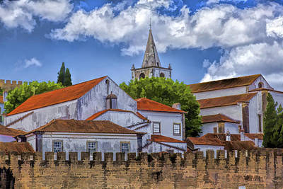 Portugal Art Painting - Church Steeple In The Medieval Fortified Village Of Obidos by David Letts
