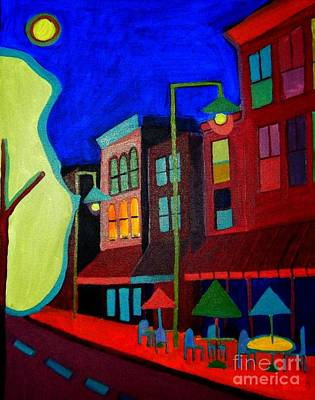 Night Lamp Painting - Church Street Cafe Burlington Vt by Debra Bretton Robinson