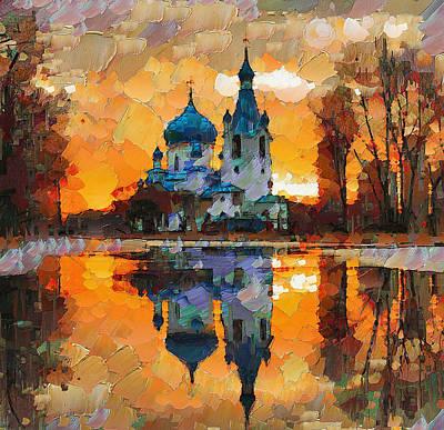 Moscow Digital Art - Church Sunset by Yury Malkov