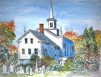 On Paper Painting - Church Vermont by Anthony Butera