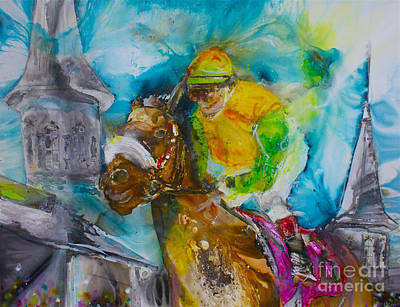 Belmont Stakes Painting - Churchill  by Kasha Ritter