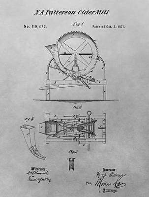 Hard Drawing - Cider Mill Patent Drawing by Dan Sproul