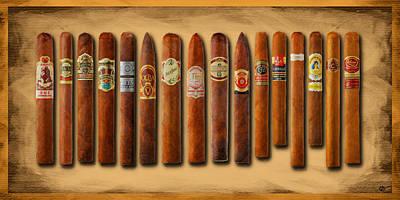 Cigar Sampler Painting Original by Tony Rubino