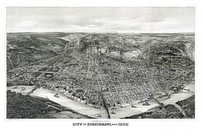 Vintage Map Painting - Cincinnati - Ohio - 1900 by Pablo Romero