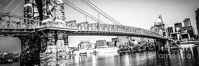 Riverfront Photograph - Cincinnati Bridge Retro Panorama Photo by Paul Velgos