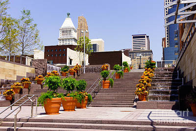 Downtown Stairs Photograph - Cincinnati Downtown Central Business District by Paul Velgos