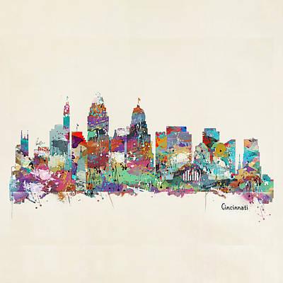 Cincinnati Ohio Painting - Cincinnati Ohio Skyline by Bri B