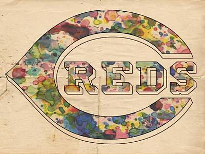 Cincinnati Painting - Cincinnati Reds Poster by Florian Rodarte