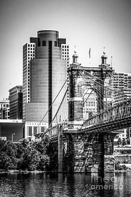 Roebling Bridge Photograph - Cincinnati Roebling Bridge Black And White Picture by Paul Velgos