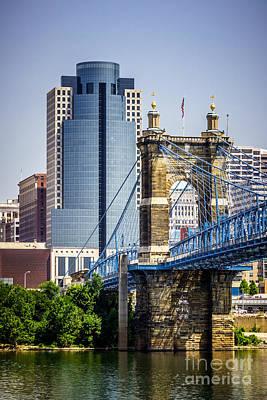 Ohio River Landscapes Photograph - Cincinnati Scripps Building And Roebling Bridge by Paul Velgos