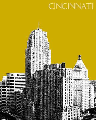 Cincinnati Digital Art - Cincinnati Skyline 2 - Gold by DB Artist