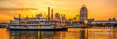 Cincinnati Skyline And Riverboat Panorama Photo Print by Paul Velgos