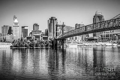 Ohio River Landscapes Photograph - Cincinnati Skyline And Roebling Bridge Black And White Picture by Paul Velgos