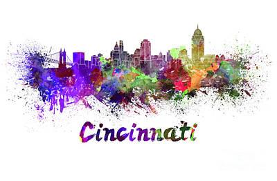 Cincinnati Ohio Painting - Cincinnati Skyline In Watercolor by Pablo Romero