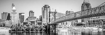 Roebling Bridge Photograph - Cincinnati Skyline Panorama Photography by Paul Velgos