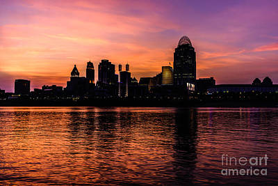 Riverfront Photograph - Cincinnati Skyline Sunset At Night by Paul Velgos