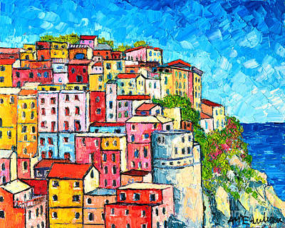 Small Painting - Cinque Terre Italy Manarola Colorful Houses  by Ana Maria Edulescu