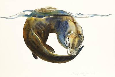 Otter Painting - Circle Of Life by Mark Adlington