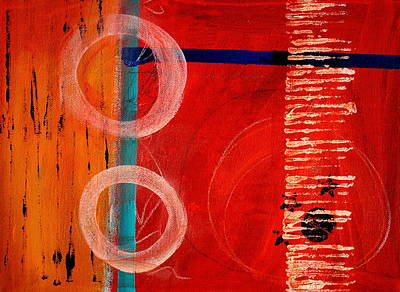 Abstract Movement Painting - Circle Red Abstract by Nancy Merkle