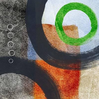 Textured Mixed Media - Circles 2 by Linda Woods