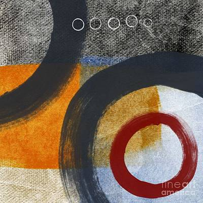 Red Abstract Painting - Circles 3 by Linda Woods