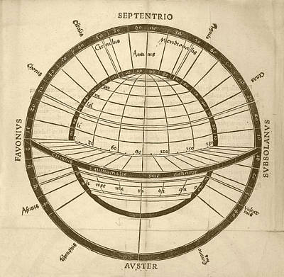 Circles On Earth Globe Print by Library Of Congress