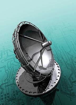 Circuit Board And Satellite Dish Print by Victor Habbick Visions