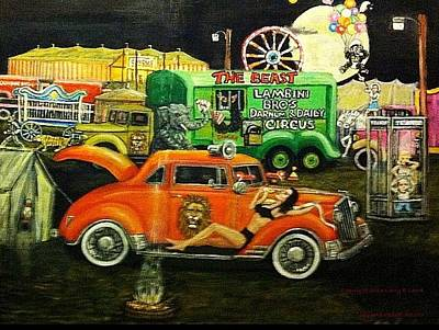 Circus Backlot Freak Show Painting Original by Larry E Lamb