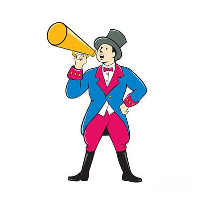 Circus Ringmaster Bullhorn Standing Cartoon Print by Aloysius Patrimonio
