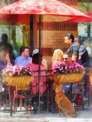 Dog Photograph - Hoboken Nj - Dog Waiting By Cafe by Susan Savad