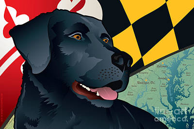 Lab Digital Art - Maryland Black Lab by Joe Barsin