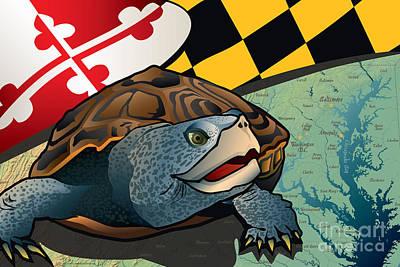 Diamondback Digital Art - Citizen Terrapin Maryland's Turtle by Joe Barsin