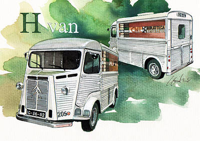 Library Painting - Citroen H Van by Yoshiharu Miyakawa